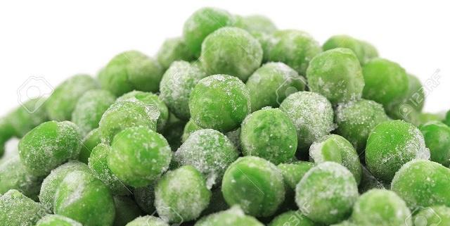 Frozen green peas.